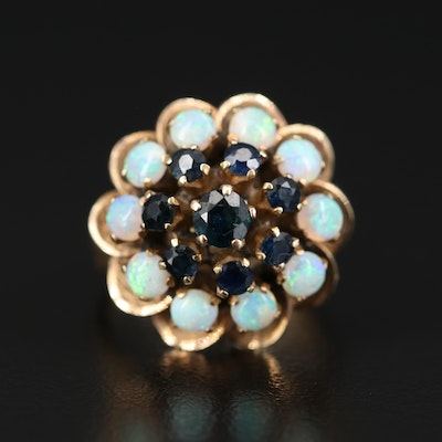 14K Sapphire and Opal Tiered Ring