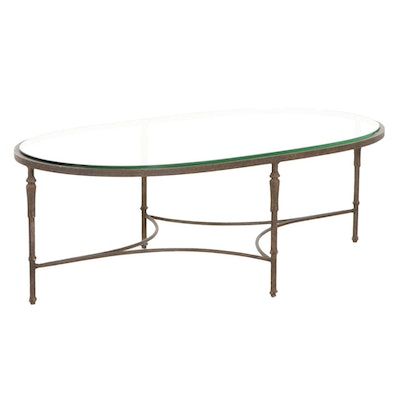 Contemporary Metal Glass Top Oval Coffee Table