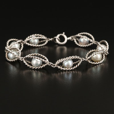 Sterling Silver Caged Pearl Bracelet with Rope Detail