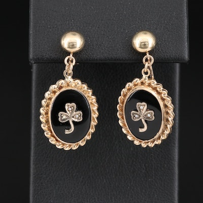 Victorian 10K Black Onyx and Seed Pearl Clover Screw Back Earrings