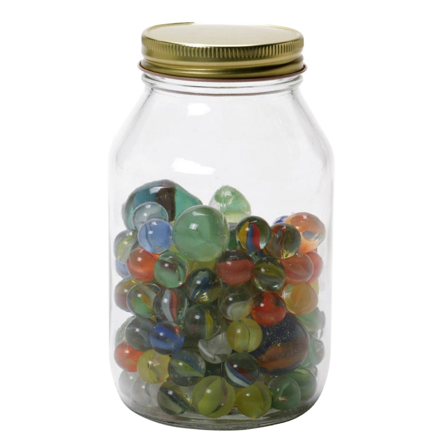Cat's Eye and Other Glass Marbles in Glass Quart Jar