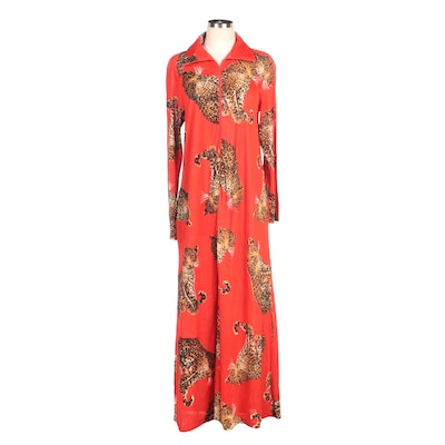 Butterfield 8 Red Leopard Print Hostess Gown
