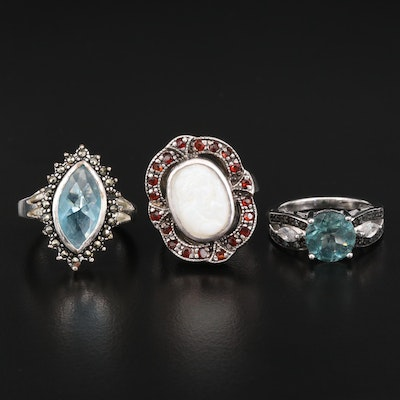 Sterling Silver Rings Featuring Apatite, Mother of Pearl and Garnet Accents