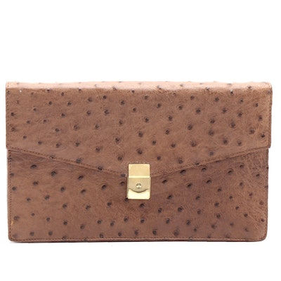Kottlers of Cape Town Brown Ostrich Skin Envelope Wristlet
