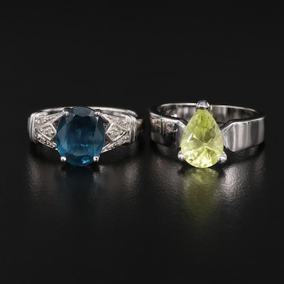 Sterling Sapphire and Diamond Ring with Cubic Zirconia Teardrop Ring