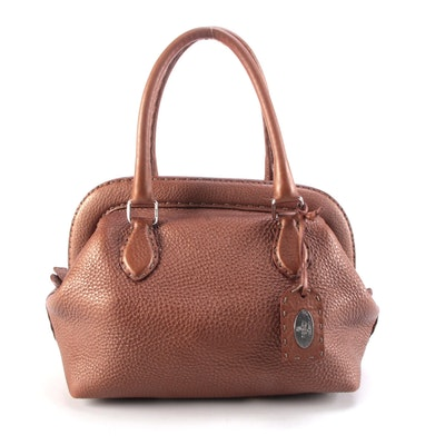 Fendi Selleria Frame Bag in Copper Grained Leather