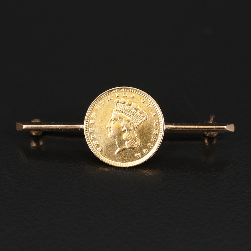 Vintage 14K Bar Brooch with 1857 Indian Princess Head Gold Dollar