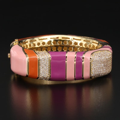 Lauren G Adams Cubic Zirconia and Enamel Hinged Bangle