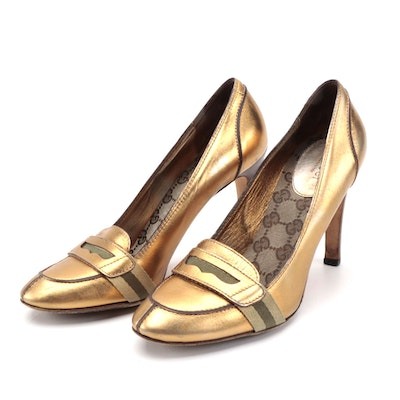 Gucci Web Gold Metallic Leather Loafer Pumps