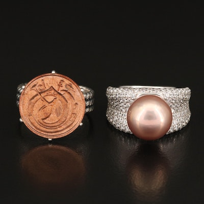 Sterling Pearl and Cubic Zirconia Ring with 1973 Ireland 1/2 Pingin Coin Ring