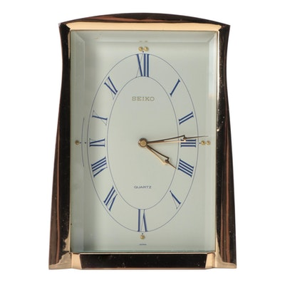 Seiko Quartz Brass Framed Desk Clock