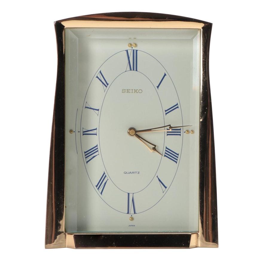 Seiko Quartz Brass Framed Desk Clock