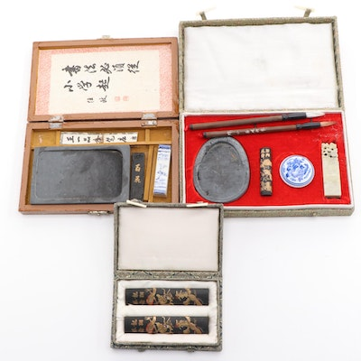 Chinese Sumi Writing and Painting Calligraphy Accessories in Cases, Mid-20th C.