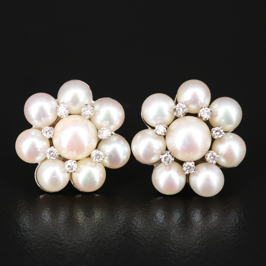 14K Pearl and Diamond Button Earrings