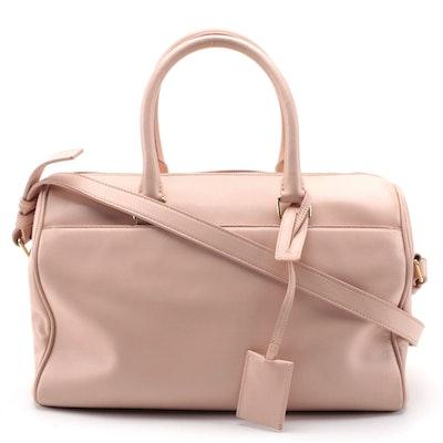 Saint Laurent Duffle Handbag in Blush Pink Calfskin Leather