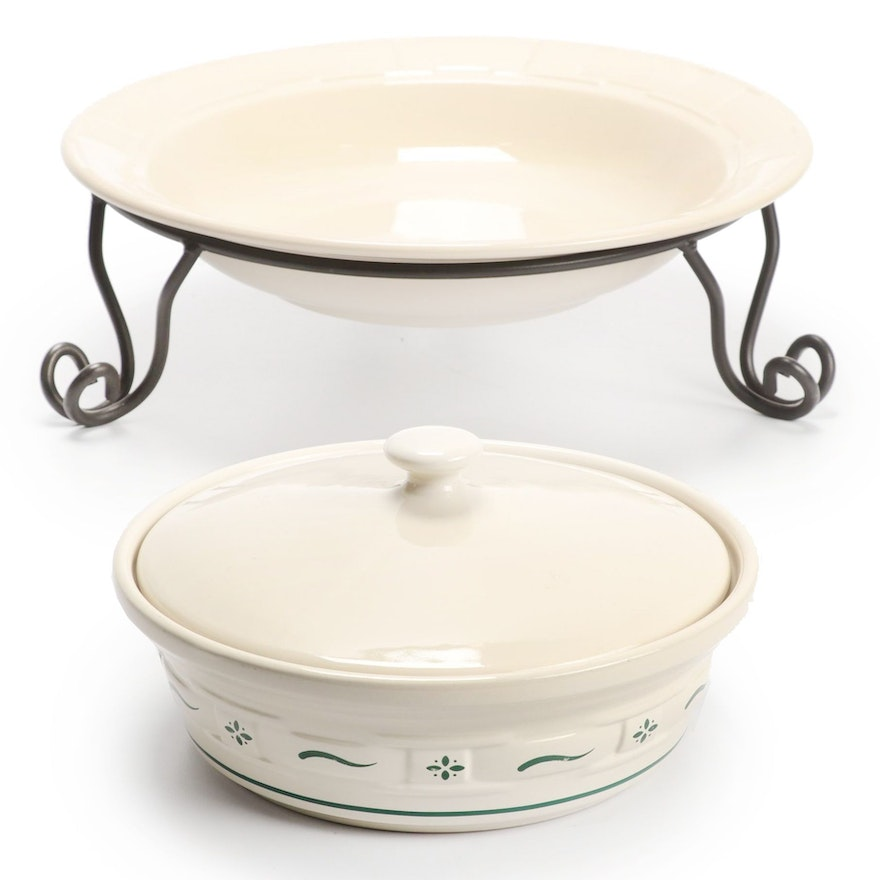 """Longaberger Pottery """"Woven Traditions"""" Serveware in Heritage Green"""