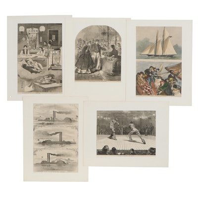 """Harper's Weekly"" Wood Engraved Illustrations Including Civil War Ironclads"