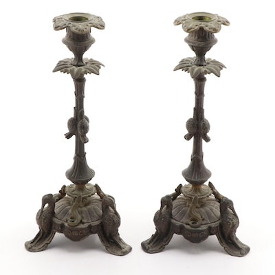 French Empire Metal Crane and Salamander Candlesticks, Mid-19th Century