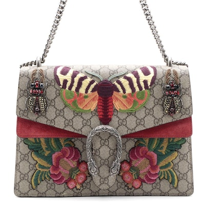 Gucci Dionysus Shoulder Bag in GG Supreme with Moth and Beetle Appliqué