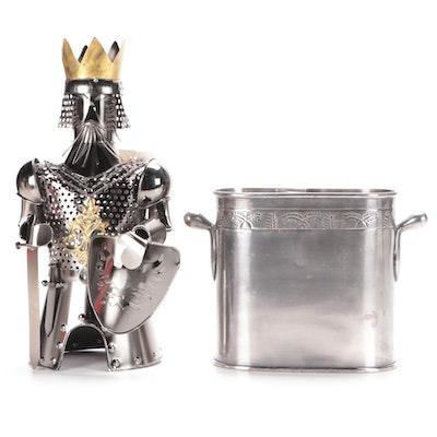 Pottery Barn Wine Bucket with Knight Wine Bottle Caddy