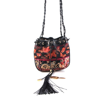 Dolce & Gabbana Jacquard and Leather Bucket Bag in Butterflies and Dragon Motif