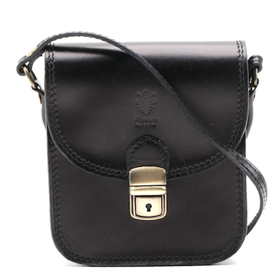Lia Biassoni Crossbody Bag in Black Leather