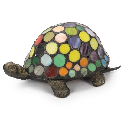 Slag Glass Mosaic Turtle Form Accent Lamp, Contemporary