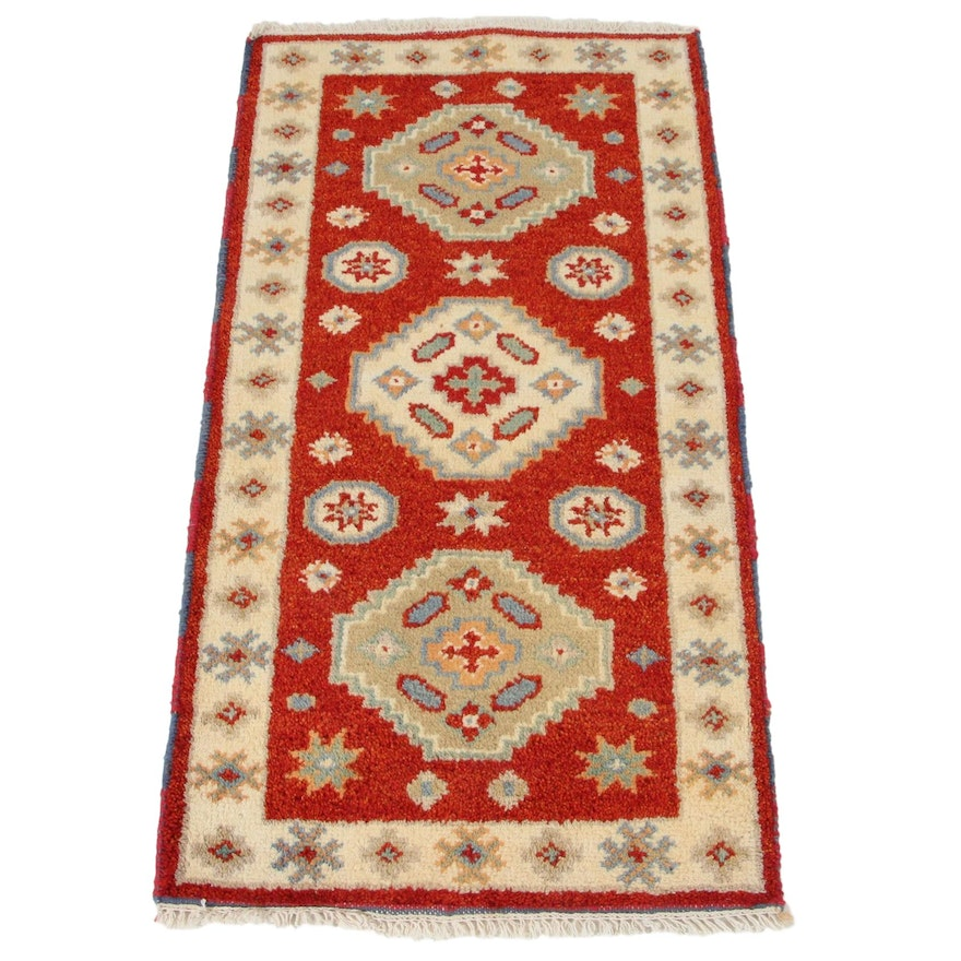 2'2 x 4'3 Hand-Knotted Indo-Caucasian Kazak Accent Rug, 2010s