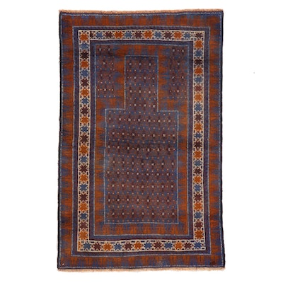 2'11 x 4'6 Hand-Knotted Persian Baluch Prayer Rug, 1990s