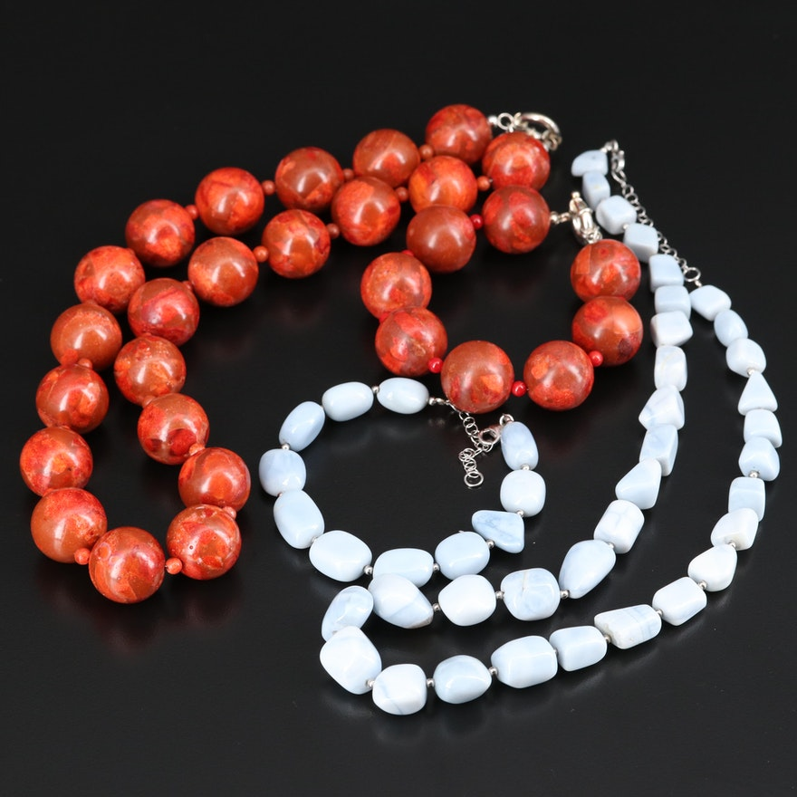 Sterling Necklace and Bracelet Sets with Common Opal and Coral