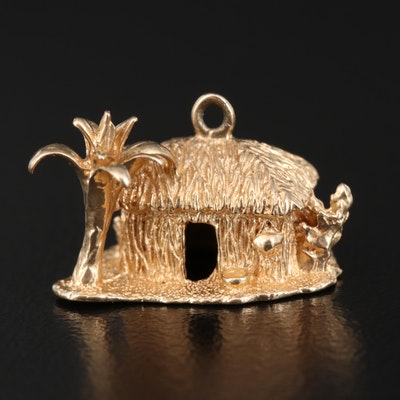 14K Bungalow and Palm Tree Pendant