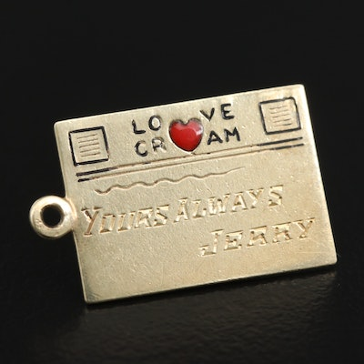 14K Telegram Pendant with Enamel Accent