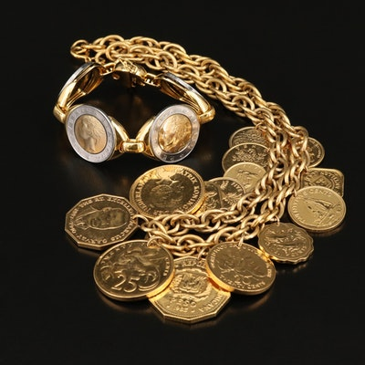 500-Lire Italian Coin Bracelet and Necklace with Coins of Jamaica and Guyana