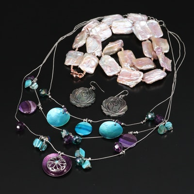 Pearl, Abalone and Shell Necklaces and Earrings