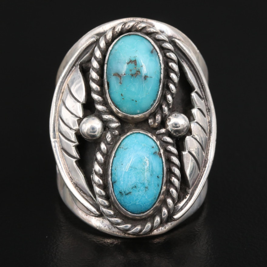 Signed Southwestern Style Sterling Turquoise Ring