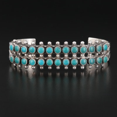 Southwestern Sterling Silver Turquoise Cuff with Stampwork Design