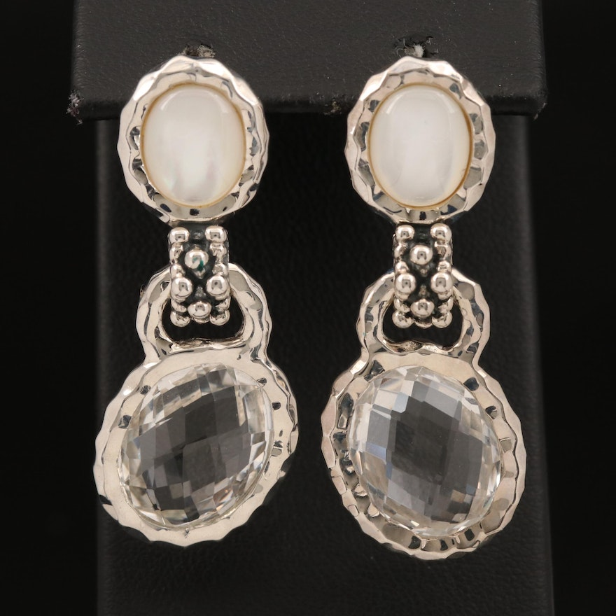 Michael Dawkins Sterling Rock Quartz Crystal and Mother of Pearl Earrings