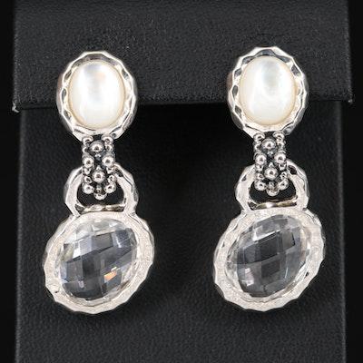 Michael Dawkins Sterling Mother of Pearl and Rock Quartz Crystal Dangle Earrings