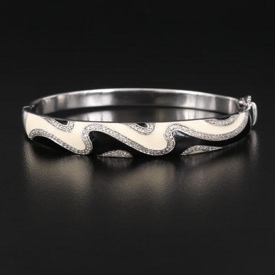 Sterling Silver Diamond and Enamel Oval Hinged Bangle