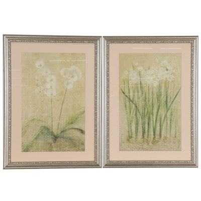 Offset Lithographs of White Flowers, 21st Century