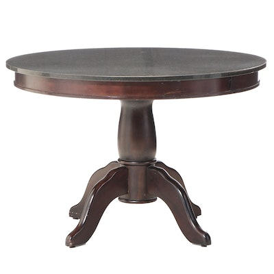 Contemporary Hardwood and Polished Stone Pedestal Dining Table
