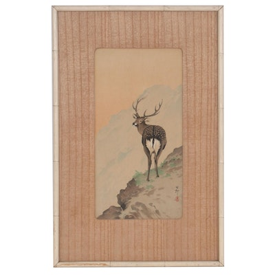 "Ohara Koson Woodblock ""Deer in the Mountains,"" Early 20th Century"