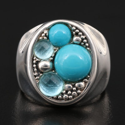 Michael Dawkins Sterling Turquoise and Topaz Ring