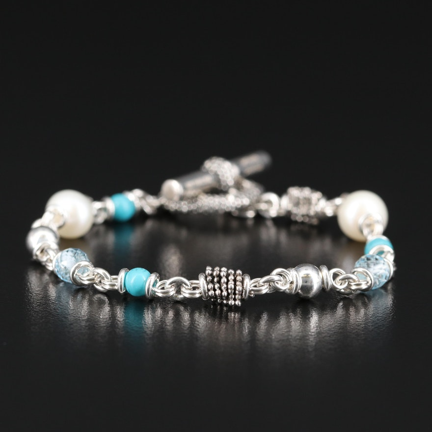 Michael Dawkins Sterling Pearl, Topaz and Faux Turquoise Bracelet