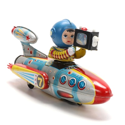 """Universe Televiboat"" Tin Litho Battery Operated Toy"
