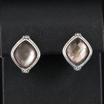 Michael Dawkins Sterling Rock Crystal Quartz and Gemstone Doublet Earrings