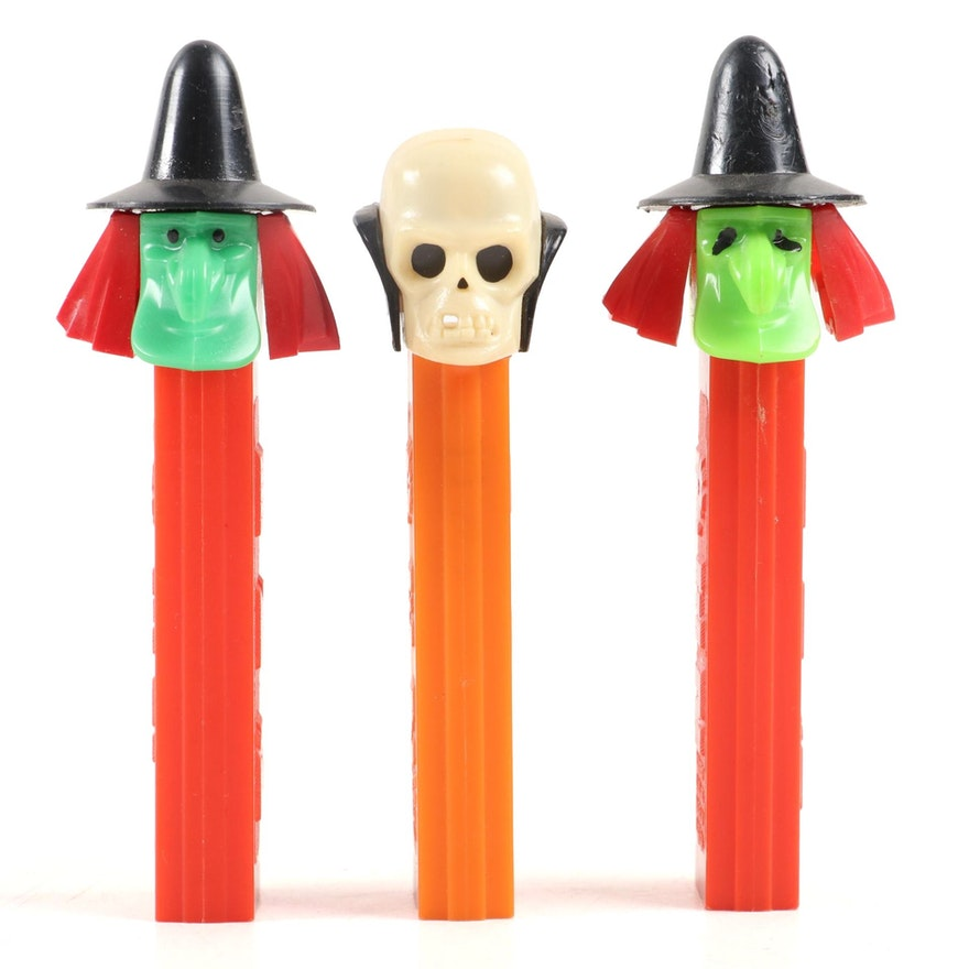 "PEZ ""Skull"" and ""Witches"" Halloween Candy Dispensers with No Feet"