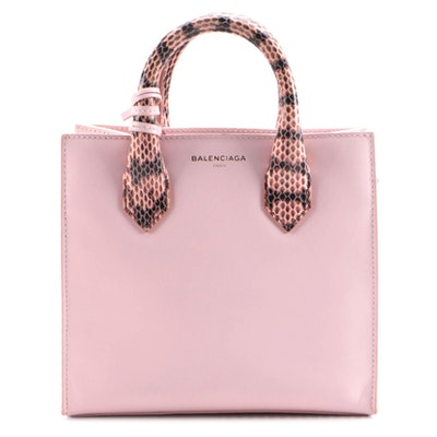 Balenciaga Mini All Afternoon Tote Bag in Pale Pink Leather with Snakeskin Trim