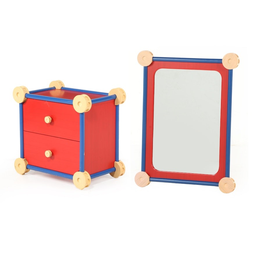 "Powell ""Tinker Toy Collection"" Nightstand and Wall Mirror"
