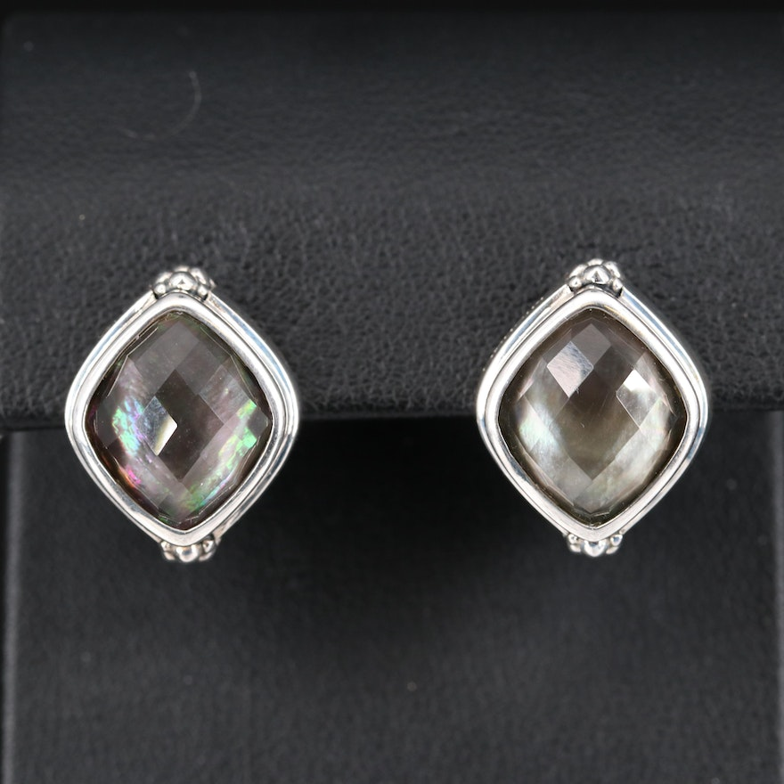Michael Dawkins Rock Quartz Crystal and Mother of Pearl Doublet Earrings